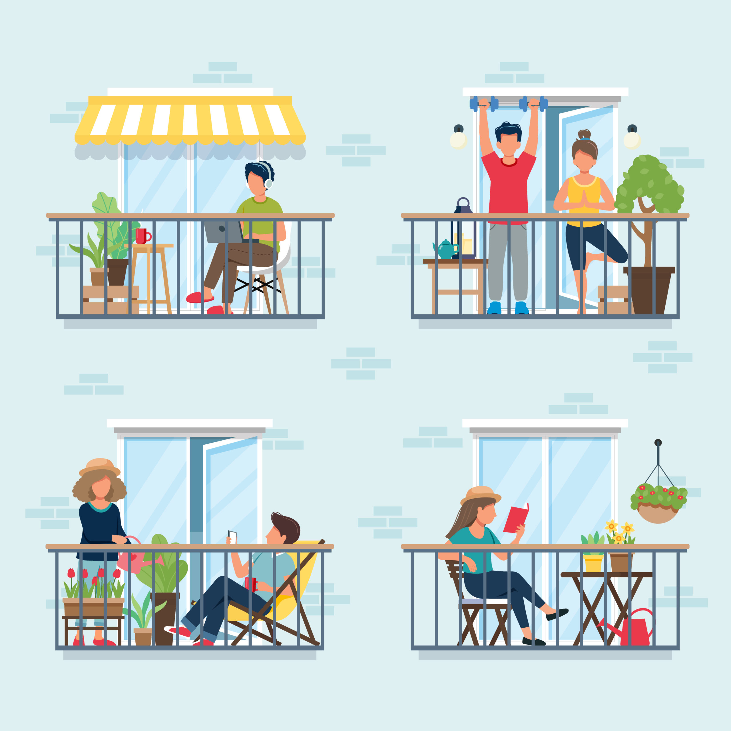 People on balcony, social isolation concept. Stay at home during epidemic._ ambuja Blog